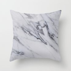 Marble - Black and White Gray Swirled Marble Design Throw Pillow