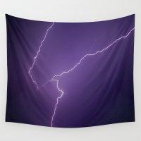 lightning Wall Tapestries featuring Lightning by Kristen