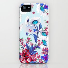 Cool blue floral garland texture iPhone Case