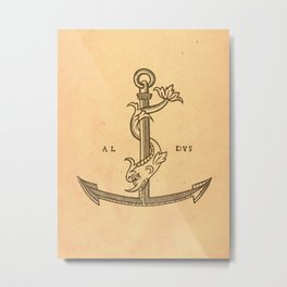 Aldus Manutius Printer Mark Metal Print