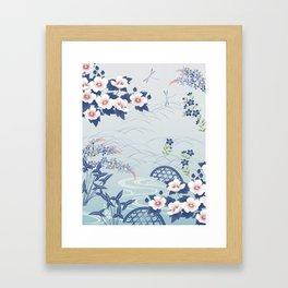 Elegant Light Blue Japanese Flower Garden Framed Art Print