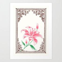 Vintage Pink Flower 4 with Brown Border  Art Print