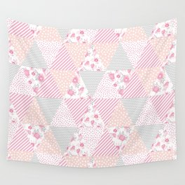 Pink soft flowers triangle quilt pattern print for home decor nursery craft room Wall Tapestry