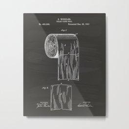 Toilet Paper Roll 1891 Patent Art Illustration Chalkboard Metal Print