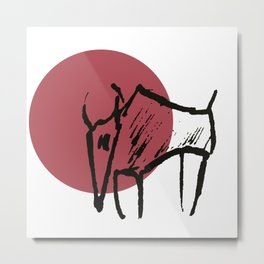 bison red dot Metal Print
