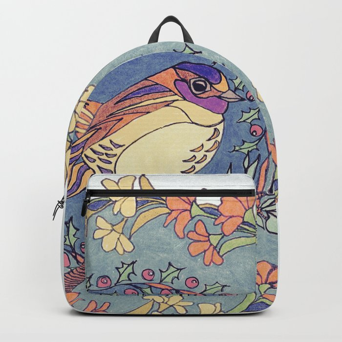 Small Bird With Wildflowers And Holly Wreath Rucksack