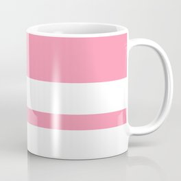 Mixed Horizontal Stripes - White and Flamingo Pink Coffee Mug