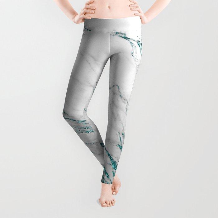 Gray Marble Aqua Teal Metallic Glitter Foil Style Leggings