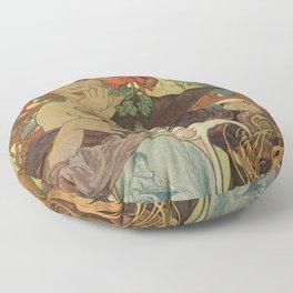 Alfons Mucha art nouveau beer ad Floor Pillow