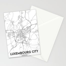 Minimal City Maps - Map Of Luxembourg City, Luxembourg. Stationery Cards