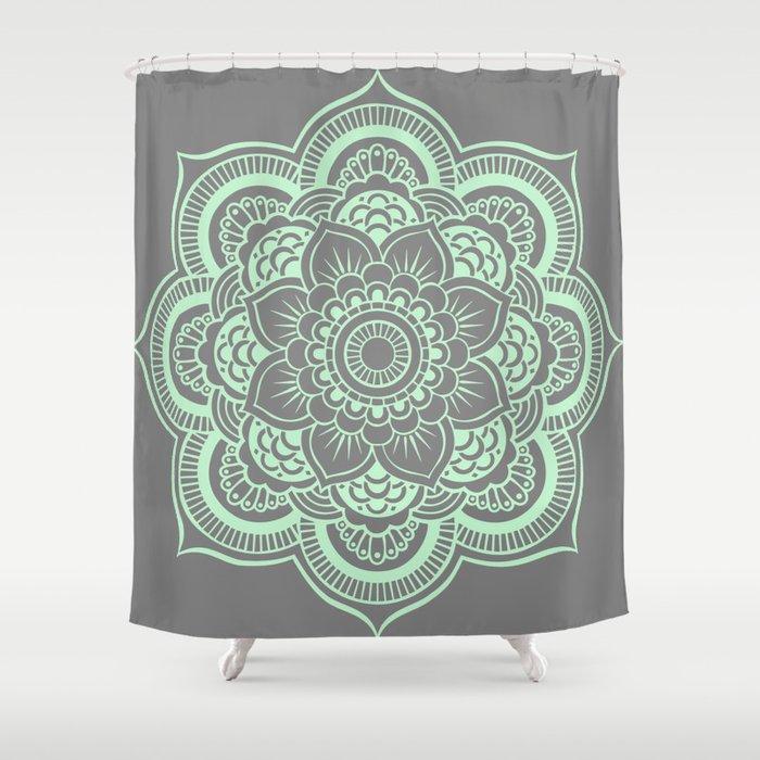 Mandala Flower Gray Mint Shower Curtain