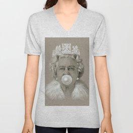 Queen Elizabeth II Blowing White Bubble Gum Unisex V-Neck