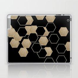 contemporary preppy scandinavian minimalist Black and gold hexagon Laptop & iPad Skin