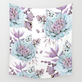 Turquoise and Violet Succulents Wall Tapestry
