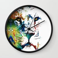 nfl Wall Clocks featuring Colorful Lion Art By Sharon Cummings by Sharon Cummings