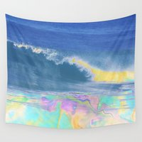 wave Wall Tapestries featuring WAVE by Lara Gurney