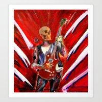Fantasy art heavy metal skull guitarist Art Print