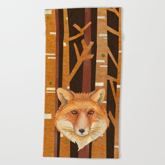 Fox Wild animal in the forest- abstract artwork #Society6 Beach Towel