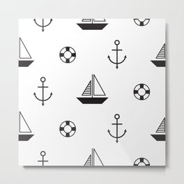 Funny sailboat with anchor Metal Print