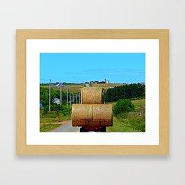Hay Rolls on the Road in PEI Framed Art Print