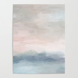 Blush Pink Mint Sky Baby Blue Abstract Ocean Sky Sunrise Wall Art, Water Clouds Painting Poster