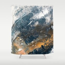 Wander [4]: a vibrant, colorful, abstract in blues, white, and gold Shower Curtain