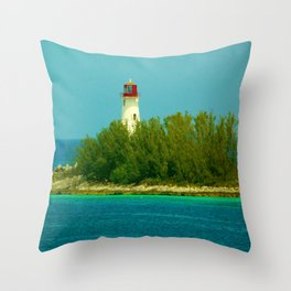 Lighthouse by the Ocean Throw Pillow