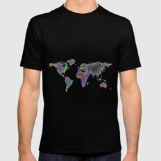 World map - woven MEDIUM Black Mens Fitted Tee