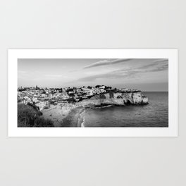 Carvoeiro town and beach in Lagoa, Algarve, Portugal. Black and White. Art Print