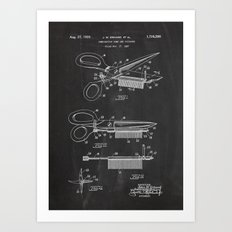 Comb And Scissors Patent Art Print