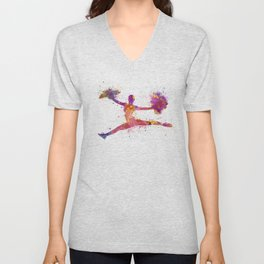 young woman cheerleader 01 Unisex V-Neck