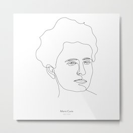 Minimalistic black and white line drawing Marie Curie Metal Print
