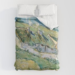 Thatched Cottages and Houses by Vincent van Gogh Comforters