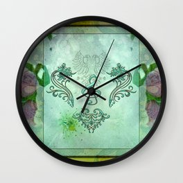 Music, decorative clef with floral elements Wall Clock