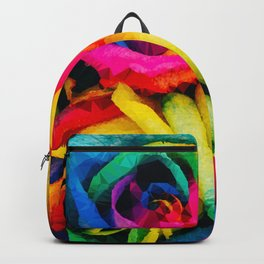 Geometric Multicolor Roses Backpack
