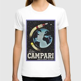 Vintage 1963 Rocket Bottle & Planet Bitter Campari Advertisement T-shirt
