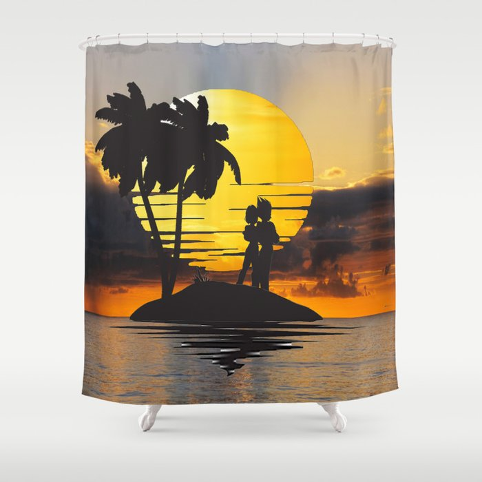 Romantic Vegeta Bulma In Sunset Shower Curtain