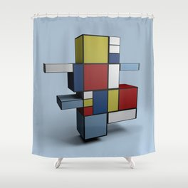 Composition with Red Blue and Yellow Shower Curtain