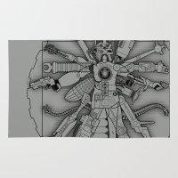gundam Area & Throw Rugs featuring The Vitruvian Machine by Captain_RibMan