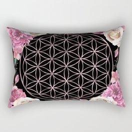 Flower of Life Rose Gold Garden on Black Rectangular Pillow
