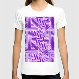 Sketchy Abstract (White & Violet Pattern) T-shirt