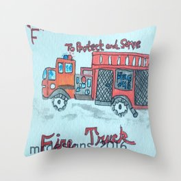 F is for Fire Engine Throw Pillow