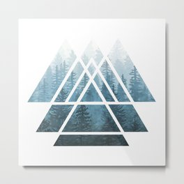 Sacred Geometry Triangles - Misty Forest Metal Print