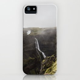 Haifoss waterfall - landscape photography iPhone Case
