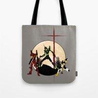 evangelion Tote Bags featuring Neon Genesis Evangelion - Hill Top by kamonkey