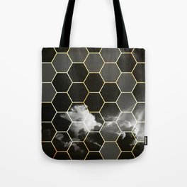 honeycomb clouds // black & white & golden Tote Bag