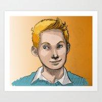 tintin Art Prints featuring Tintin by Zalazny