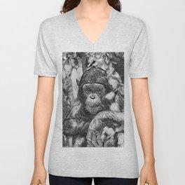 AnimalArtBW_Chimpanzee_20180201_by_JAMColors Unisex V-Neck