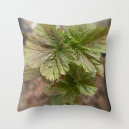 Currant Spring Leaves Throw Pillow