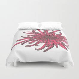 Red and Copper Chrysanthemum Duvet Cover